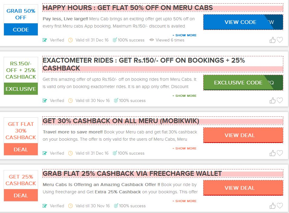 latest Meru cabs coupons